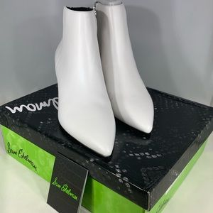 Sam Elderman Kinzey White Leather Bootie, NIB